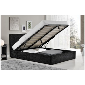 Berlin Black Crush Ottoman Bed
