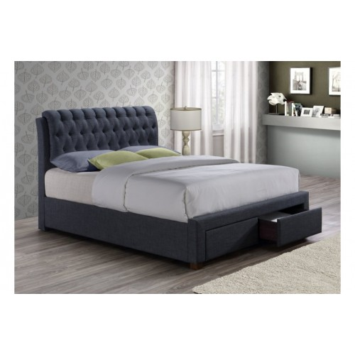 Valentino Charcoal 2 Drawer Bed