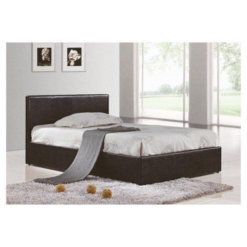Berlin Black Leather Ottoman Bed