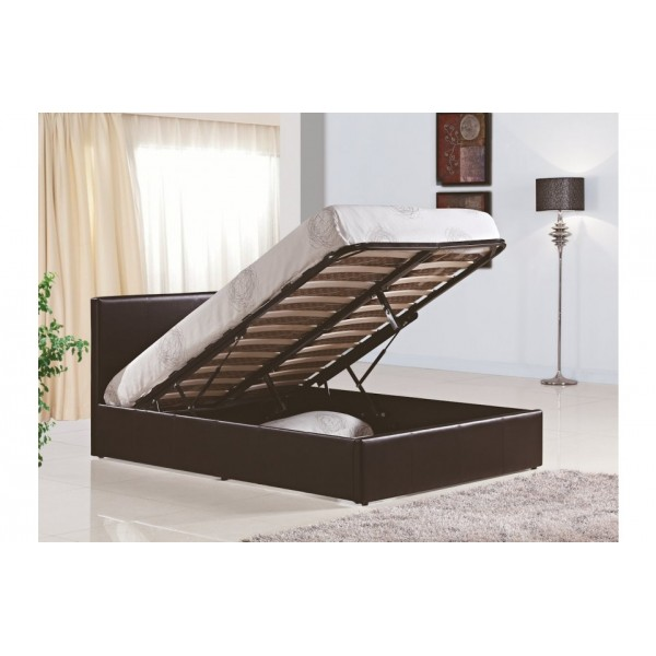 Berlin Brown Leather Ottoman Bed