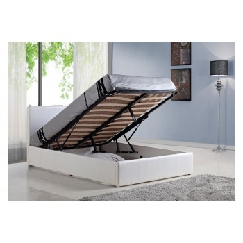 Berlin White Leather Ottoman Bed *4ft 6 Low Stock - Selling fast
