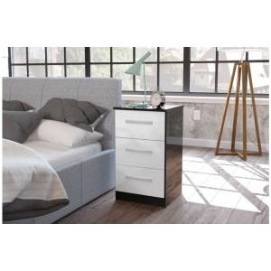 Lynx Black & White Bedside Cabinet