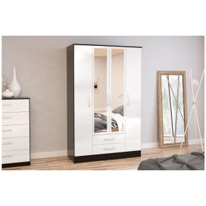 Lynx Black & White 4 Door Combi Wardrobe with Mirror