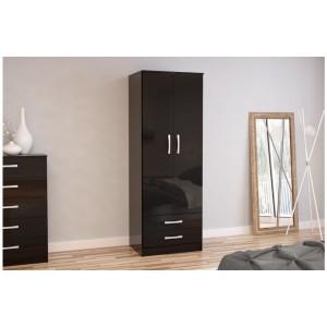Lynx Black 2 Door Combi Wardrobe