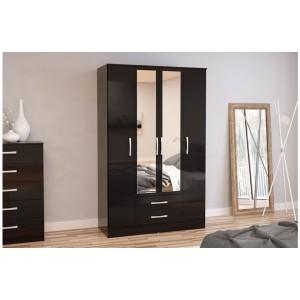 Lynx Black 4 Door Combi Wardrobe with Mirror