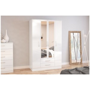 Lynx White 4 Door Combi Wardrobe with Mirror