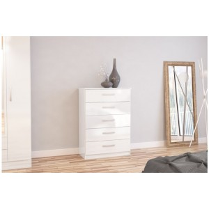 Lynx White 5 Drawer Chest
