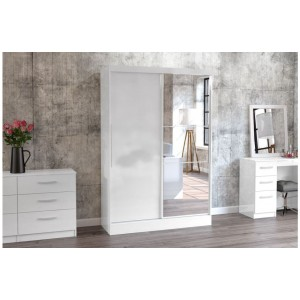 Lynx White Sliding Wardrobe with Mirror
