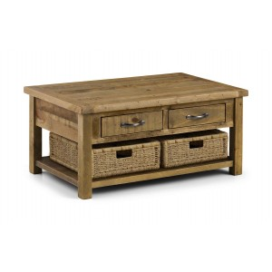 Aspen Coffee Table with Baskets (Assembled)
