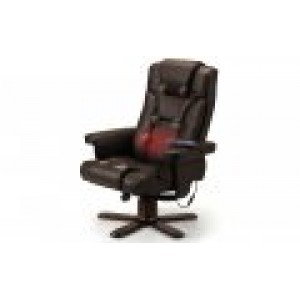 Malmo Brown Massage Recliner & Foot Stool