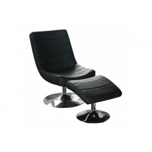 Vegas Easy Chair with Stool in Black
