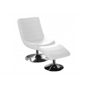 Vegas Easy Chair with Stool in White