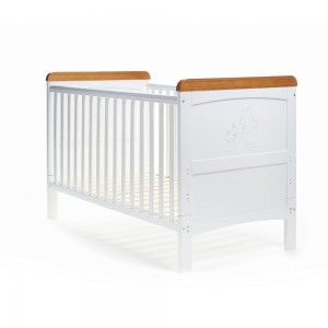 Winnie The Pooh Deluxe Cot Bed in White with Pine Trim