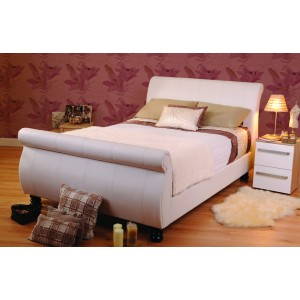Mandarin White Sleigh Bed