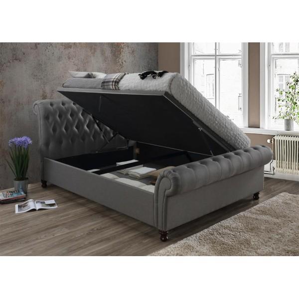 Castello Grey Ottoman Bed