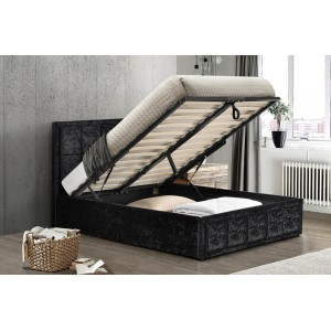 Hannover Black Crush Ottoman Bed