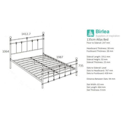 Atlas Cream Bed *3ft Out of Stock - Back Soon*