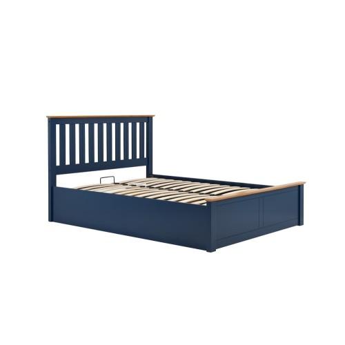 Phoenix Navy-Blue Ottoman Bed