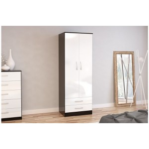 Lynx Black & White 2 Door Combi Wardrobe