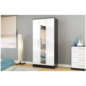 Lynx Black & White 3 Door Wardrobe with Mirror