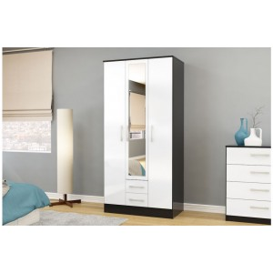 Lynx Black & White 3 Door Combi Wardrobe with Mirror
