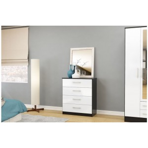 Lynx Black & White 4 Drawer Chest