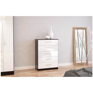 Lynx Black & White 5 Drawer Chest