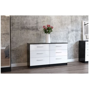 Lynx Black & White 6 Drawer Chest