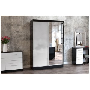 Lynx Black & White Sliding Wardrobe with Mirror