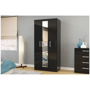 Lynx Black 3 Door Wardrobe with Mirror