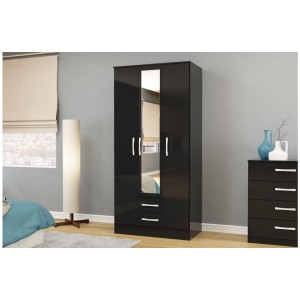 Lynx Black 3 Door Combi Wardrobe with Mirror