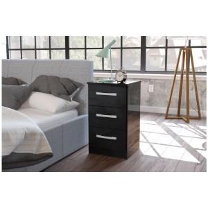Lynx Black Bedside Cabinet