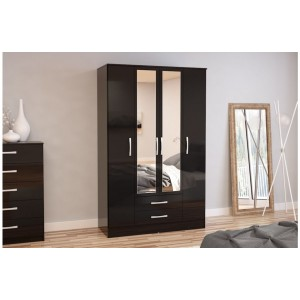 Lynx Black 4 Door Combi Wardrobe with Mirror