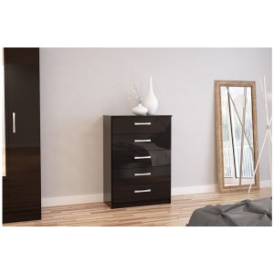 Lynx Black 5 Drawer Chest
