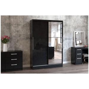 Lynx Black Sliding Wardrobe with Mirror