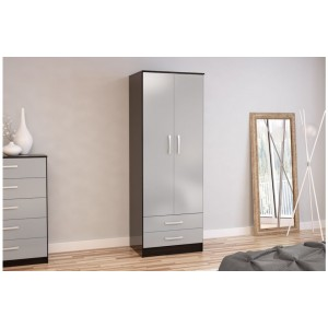 Lynx Grey & Black 2 Door Combi Wardrobe