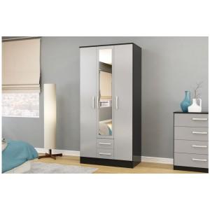Lynx Grey & Black 3 Door Combi Wardrobe with Mirror