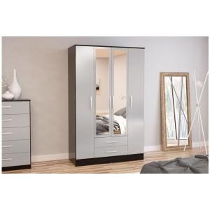Lynx Grey & Black 4 Door Combi Wardrobe with Mirror