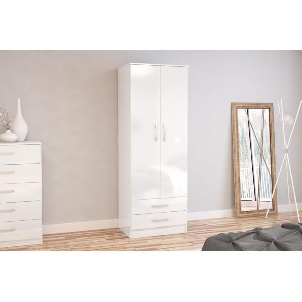 Lynx 2 Door Combi Wardrobe (White)