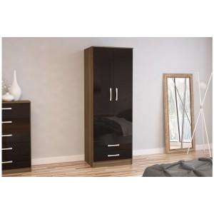 Lynx Walnut & Black 2 Door Combi Wardrobe