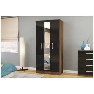Lynx Walnut & Black 3 Door Wardrobe with Mirror