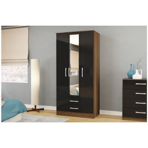 Lynx Walnut & Black 3 Door Combi Wardrobe with Mirror