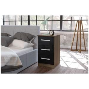 Lynx Walnut & Black Bedside Cabinet