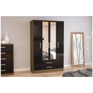 Lynx Walnut & Black 4 Door Combi Wardrobe with Mirror