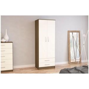 Lynx Walnut & Cream 2 Door Combi Wardrobe