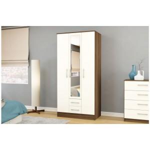 Lynx Walnut & Cream 3 Door Combi Wardrobe with Mirror