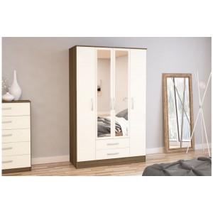 Lynx Walnut & Cream 4 Door Combi Wardrobe with Mirror