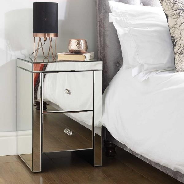 Seville 2 Drawer Bedside Cabinet (Assembled)