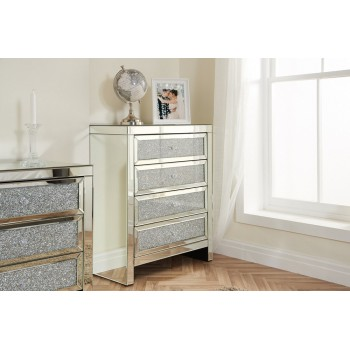 Vienna 4 Drawer Mirrored Chest (Assembled)