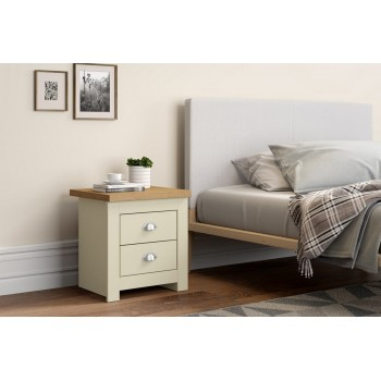 Winchester Cream & Oak 2 Drawer Bedside**DISC**